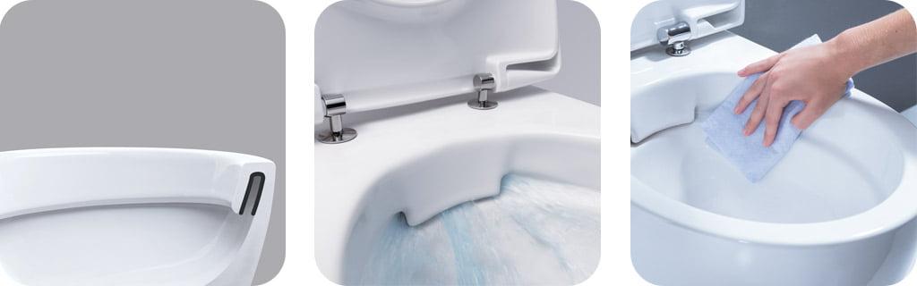 RIMFREE® WC puodai neturi keraminio vidinio apvado, todėl nėra vietos kauptis bakterijoms ir nešvarumams.