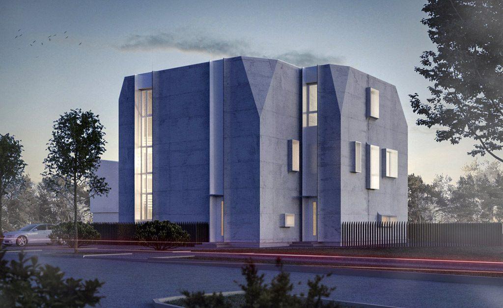 """Betonas panaudotas fasadui ir stogo elementams, kad """"kalbėtų"""" pastato tūris. """"UGNIUS + ARCHITEKTAI"""" vizual."""