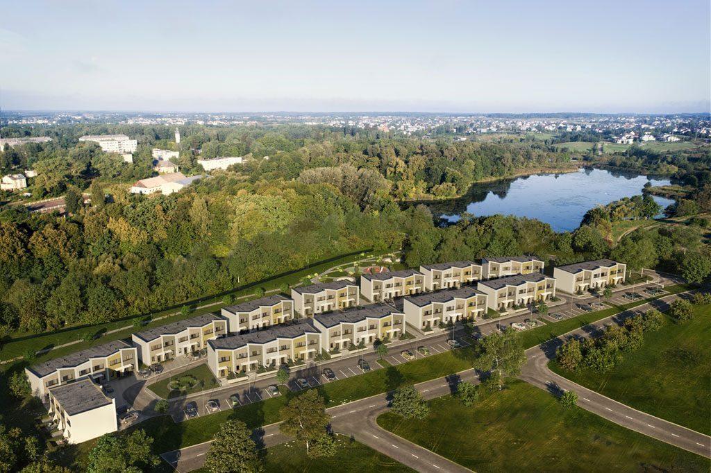 Trylikoje nedidelių dviaukščių namų bus įrengti 72 butai per du aukštus.