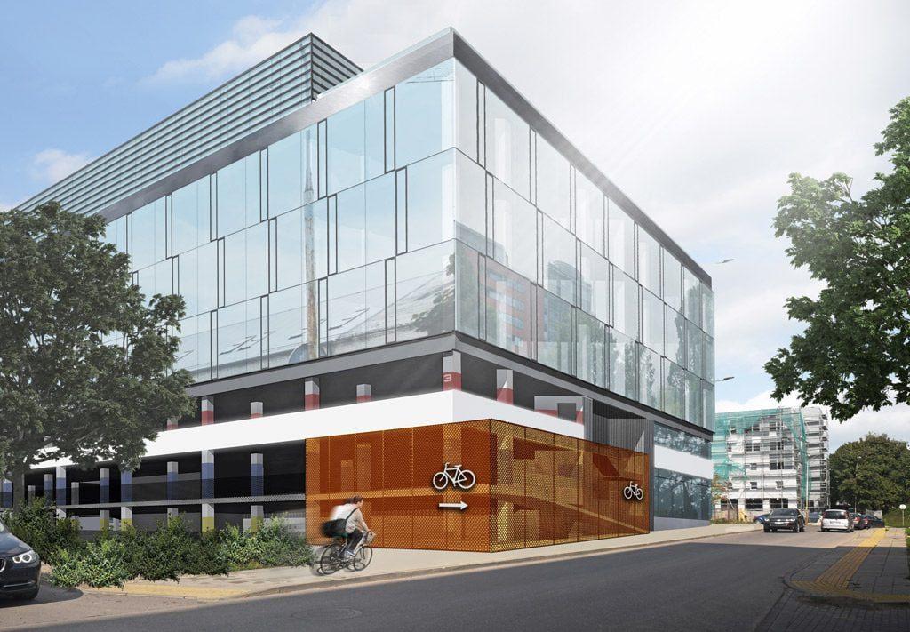Šiuo metu Žalgirio g., Vilniuje, projektuojamas administracinis pastatas. Jame saulės įtaka mažinama horizontaliomis stacionariomis žaliuzėmis (viršutinis aukštas), saulės spindulių kiekį kontroliuojančiu refleksiniu stiklu. Taip pat bus įrengti vidiniai kiemai. Vilniaus architektūros studijos vizual.