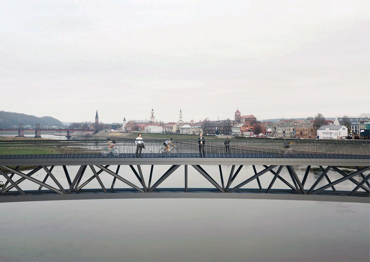 Senamiesčio panorama nuo centrinės Nemuno tilto dalies. Projekto vizual.