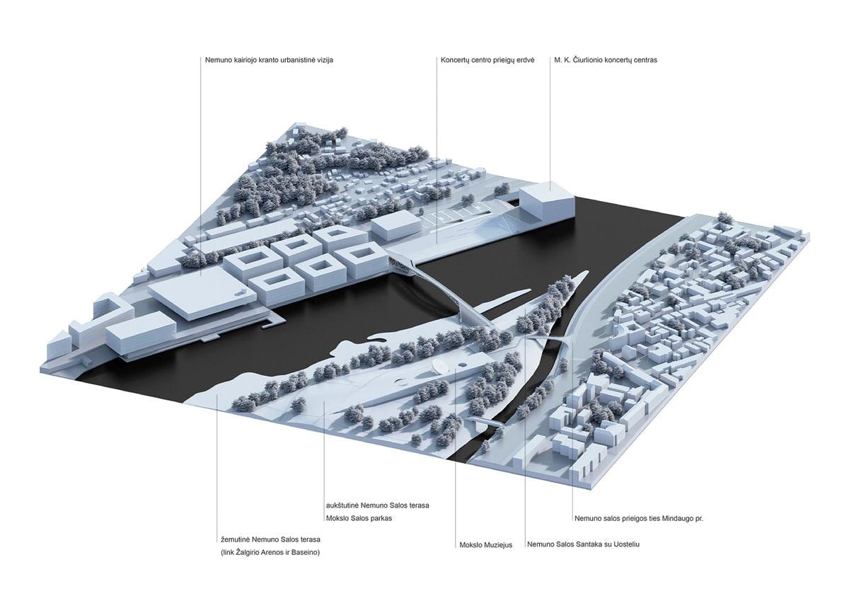 Urbanistinė aksonometrija - vaizdas iš šiaurės rytų pusės. Projekto vizual.