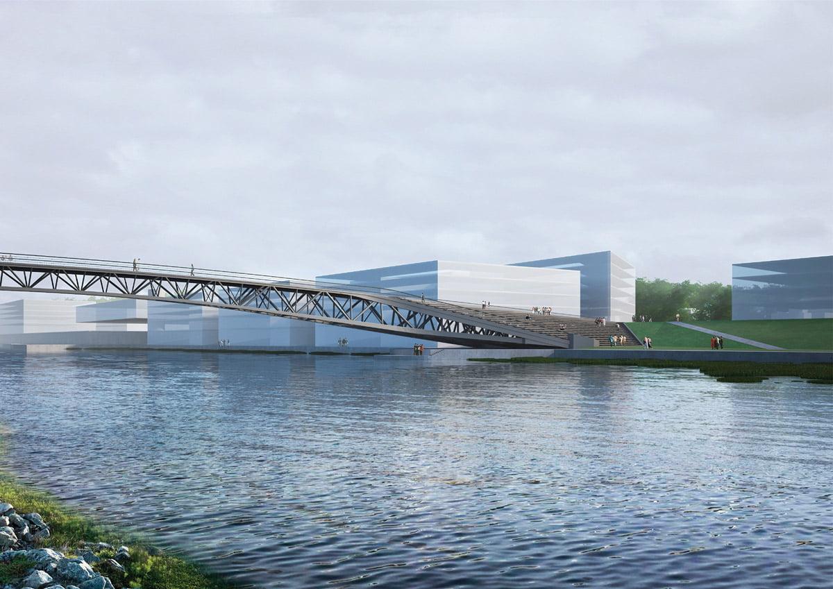 Vaizdas nuo Salos Santakos - krantinės laiptuotas praplatėjimas buv. bunos vietoje ties tilto atrama. Projekto vizual.