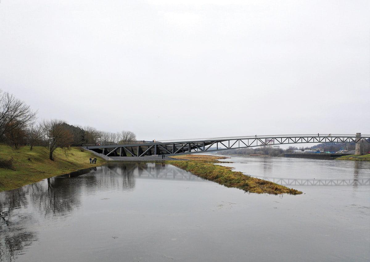 Vaizdas į buv. Jachtklupo uostelį ir ties tiltu formuojamą krantinę. Projekto vizual.