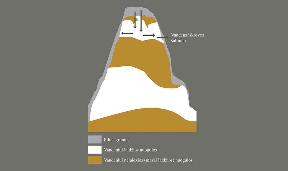 Hidrogeologinis Gedimino kalno pjūvis. Rodyklėmis pažymėtos vandens infiltravimosi kalno aikštelėje bei iškrovų šlaituose 116–117 altitudėje.