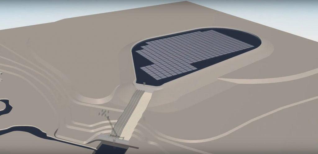 Plūduriuojančios saulės jėgainės vizual.