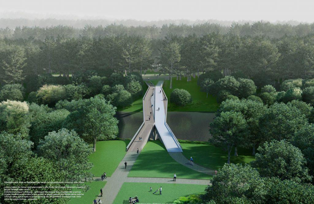 """Pėsčiųjų tilto per Neries upę, nuo Vingio parko iki Lietuvos parodų ir kongresų centro """"Litexpo"""" teritorijos, Vilniuje, architektūrinio projekto konkursas. Projekto devizas – """"Užvingio salos tiltas"""". 1-osios vietos nugalėtojai. Statytojas: Vilniaus miesto savivaldybė, projektuotojas """"TEC Infrastructure"""". Autoriai: architektai """"KILD architektai"""" ir UAB """"TEC Infrastructure"""". Konstrukcijų skaičiavimai ir inžinerinė konsultacija – Vilius Karieta."""