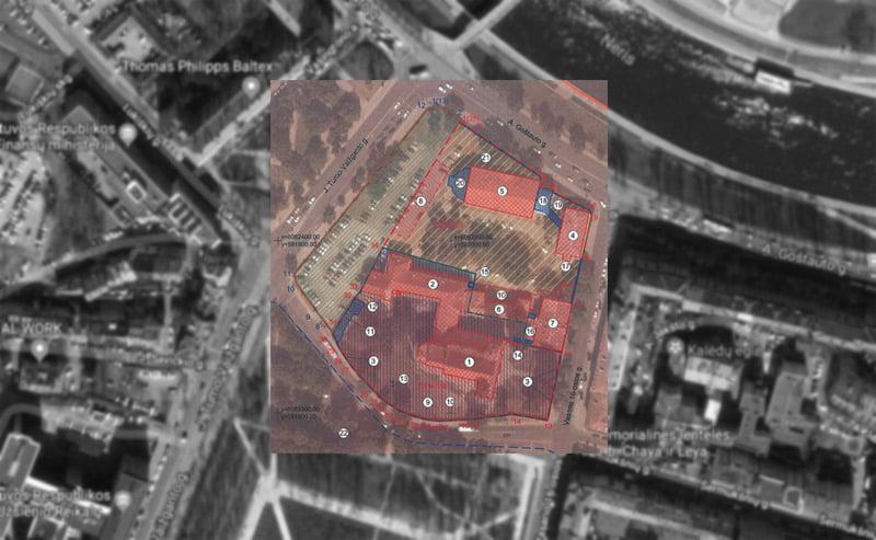 Apibrėžtų Vilniaus Šv. apaštalų Jokūbo ir Pilypo bažnyčios, dominikonų vienuolyno ansamblio ir Šv. Jokūbo ligoninės statinių komplekso teritorijos ir apsaugos zonos ribų planas.