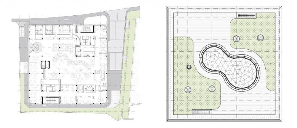"""Atrijus yra sukonstruotas urvo principu: į pirmo aukšto dalį patenkama pro žemų lubų zoną – čia suprojektuota registratūros ir restorano funkcija, o paėjėjus giliau, atsiveria atrijus. """"Archinovos"""" 3D fragmentas."""