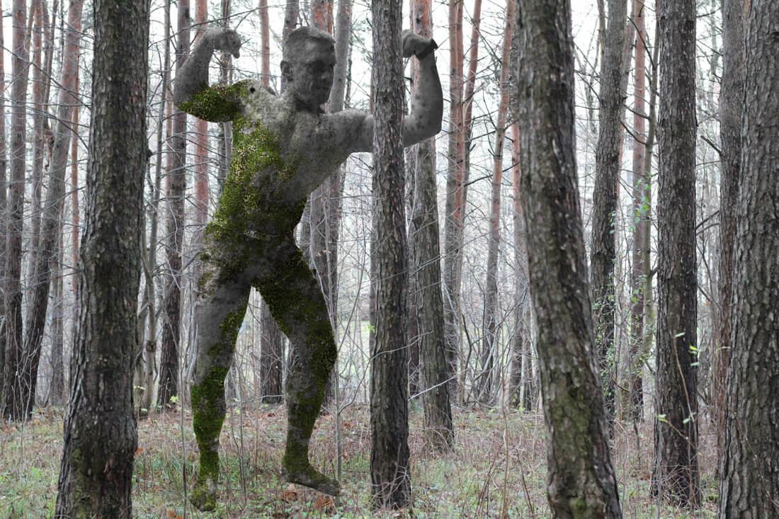 Mykolo Saukos skulptūra Viršuliškių miško parke.