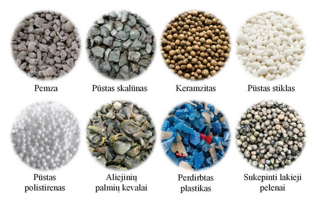 6 pav. Konstrukcinio lengvojo betono gamyboje naudojami užpildai.