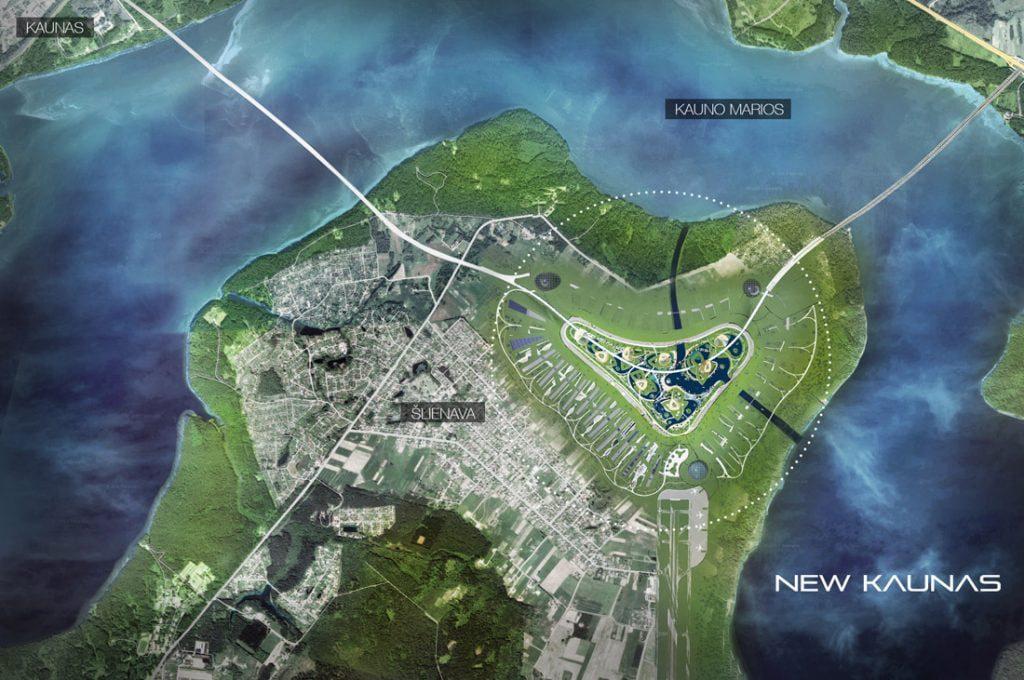 """""""New Kaunas"""" būtų įkuriamas tarp dviejų jau veikiančių hidroelektrinių. Miesto pastatų pamatai įrengiami su visiškai miesto poreikius patenkinančiu geoterminiu tinklu. O pastatų fasadai saulės ir vėjo energiją paverstų elektra. """"Baltic Architects Group"""" vizual."""
