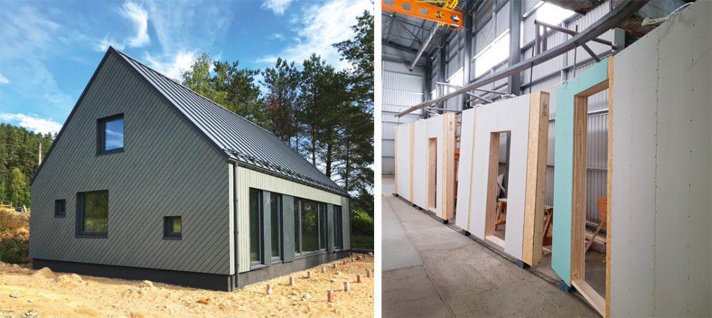 """""""Vesta 100"""" sienoms panaudota medinio karkaso skydinė konstrukcija."""
