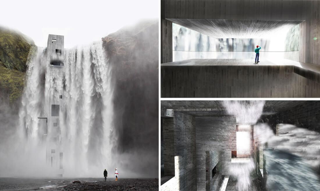 Projektuojamame krioklio muziejuje svarbiausia yra žmogaus emocijos ir pojūčiai, patiriami viduje.