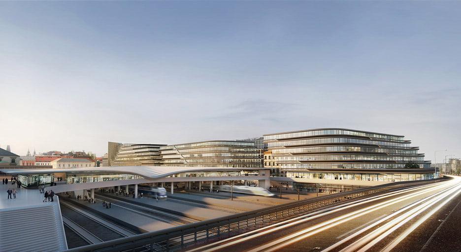"""Prahos geležinkelių stoties projektas. """"Zaha Hadid Architects"""" vizual."""