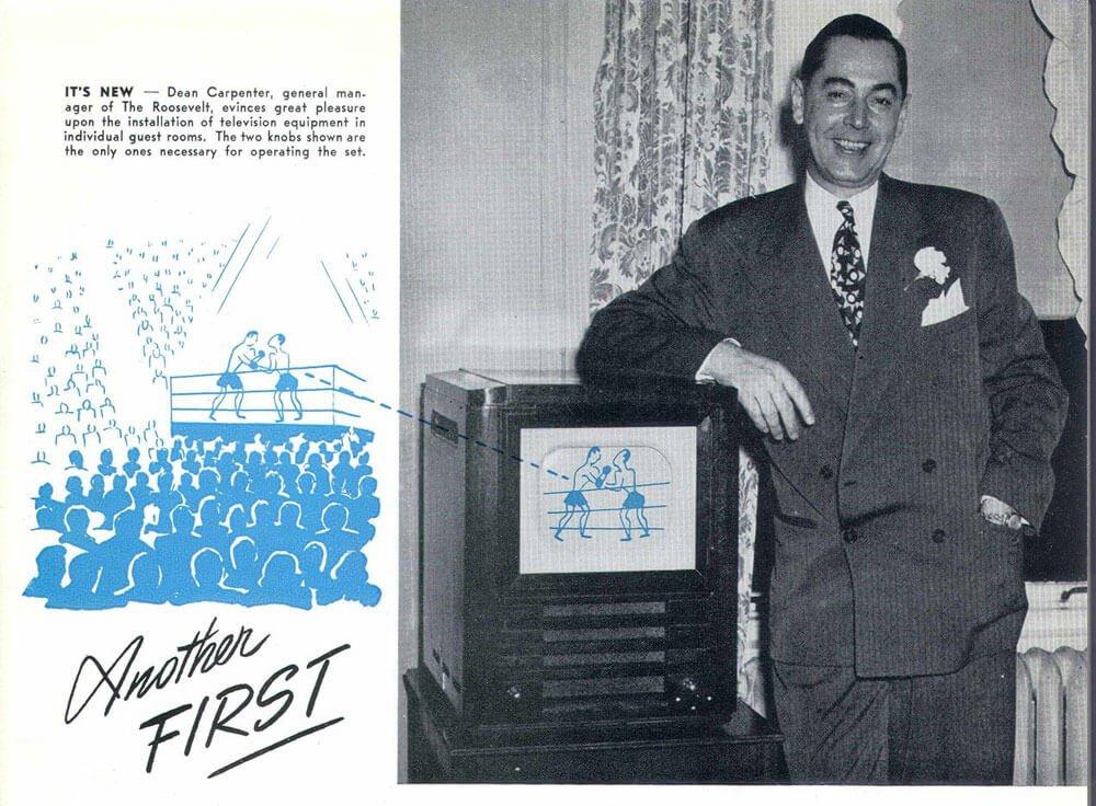 """1947 m. """"Roosevelt Hilton"""" viešbučio savininkai pirmieji kiekviename kambaryje įrengė po nuosavą televizorių."""