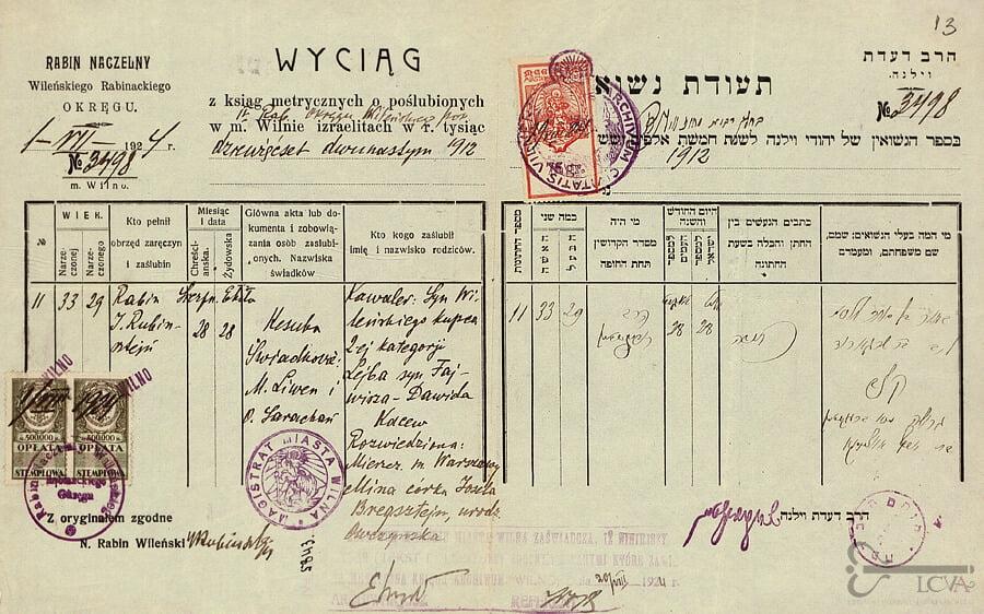Vilniaus apygardos rabino 1924 m. liepos 1 d. išrašas iš Vilniaus miesto žydų bendruomenės 1912 m. santuokų metrikų knygos apie Leibos Kacevo ir Minos Ovčynskos Bregštein santuoką. Lietuvos ypatingojo archyvo nuotr.