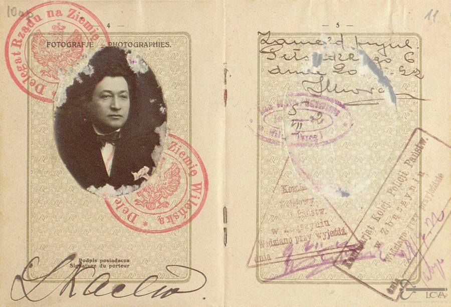 Leibo Kacevo užsienio paso ištrauka. 1922 m. Lietuvos ypatingojo archyvo nuotr.