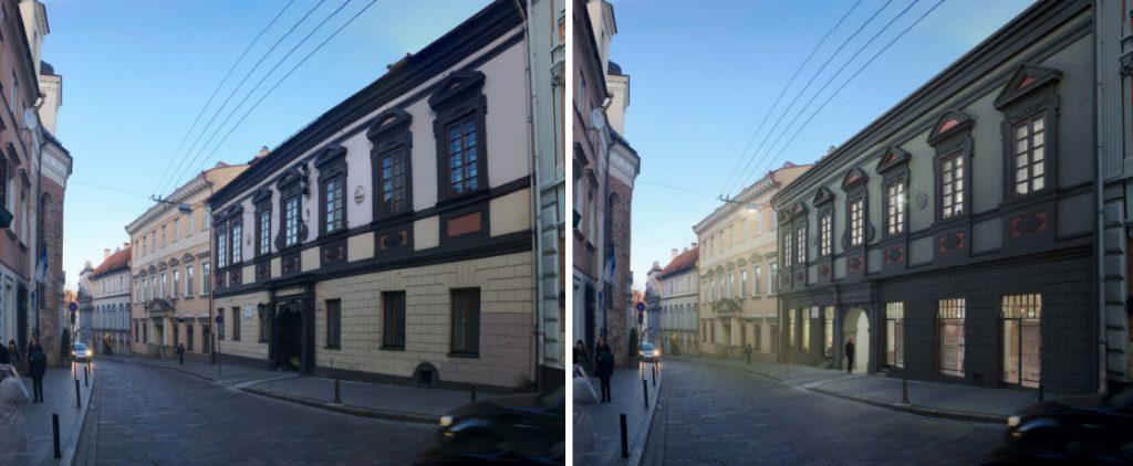 """Dominikonų gatvė – dabar ir po restauracijos. """"DO architects"""" vizual."""