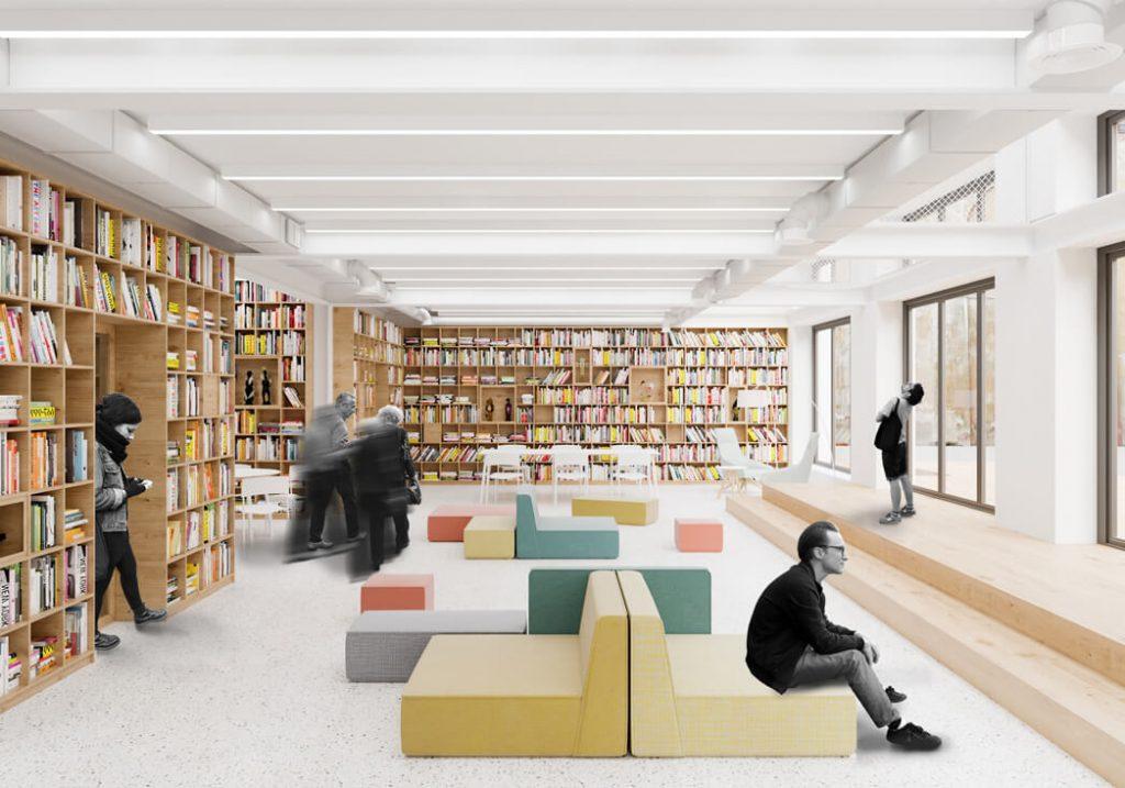 """Dalis dviaukščio pastato bus skirta edukacijai. """"Inblum"""" vizual."""