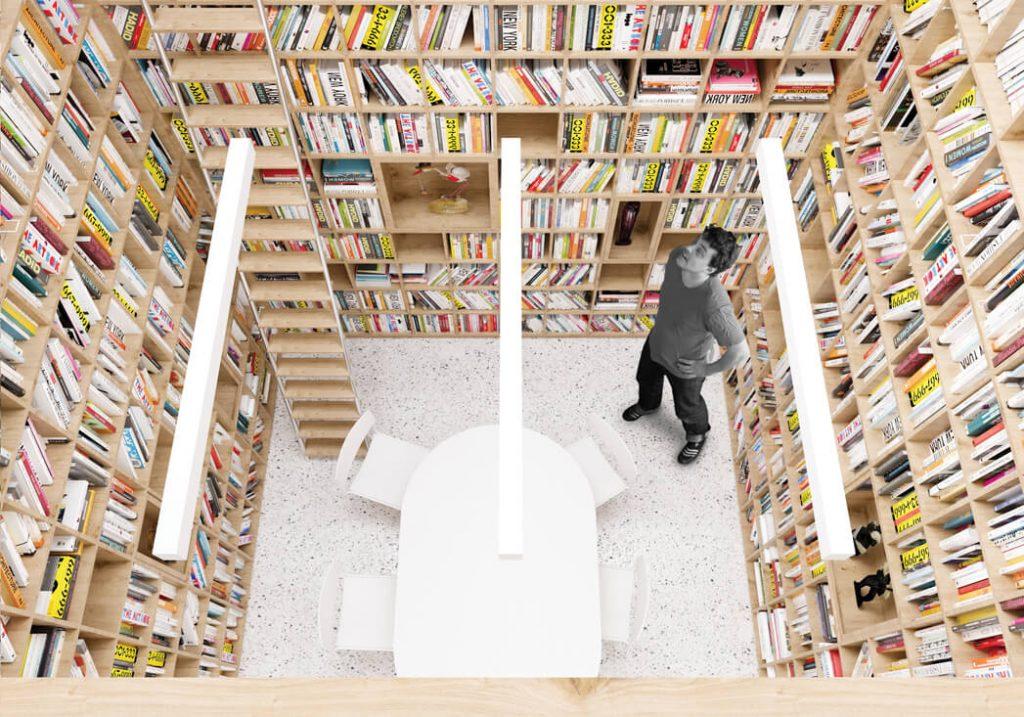 """Ugdymo įstaigos lūkestis buvo sukurti tipinės mokyklos bibliotekos ribas peržengiančią modernią erdvę. """"Inblum"""" vizual."""