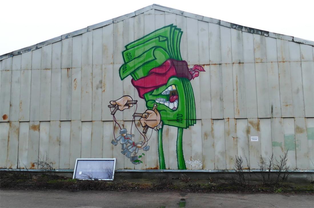 Piešinys ant Paribio g. 12 pastato sienos (SA.lt nuotr.)