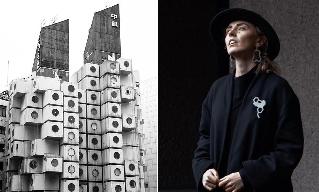 Nakagin kapsulės bokštas Tokijuje ir Gerda Liudvinavičiūtė (CELSIUS 273 nuotr.)