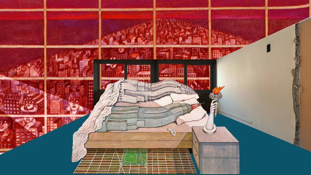 Koliažas iš serijos Darbovaizdžiai. Indrė Ruseckaitė, 2020. Naudojami kūrinių fragmentai:  Flagrant Delit (Caught in the Act). Madelon Vriesendorp, 1975 © Architectural Association