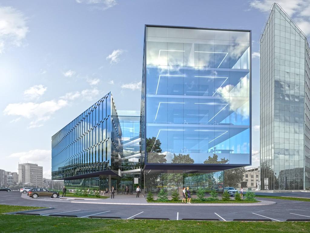 """""""Teltonika"""" biurų pastato stiklo fasafai (""""Architektūros linija"""" vizual.)"""