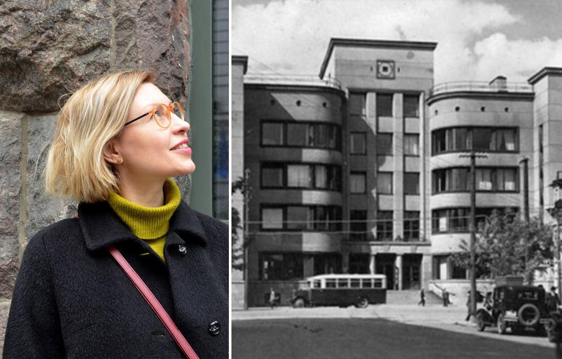 Marija Drėmaitė (J. Reklaitės nuotr.) ir Kauno Centrinis paštas tarpukariu.