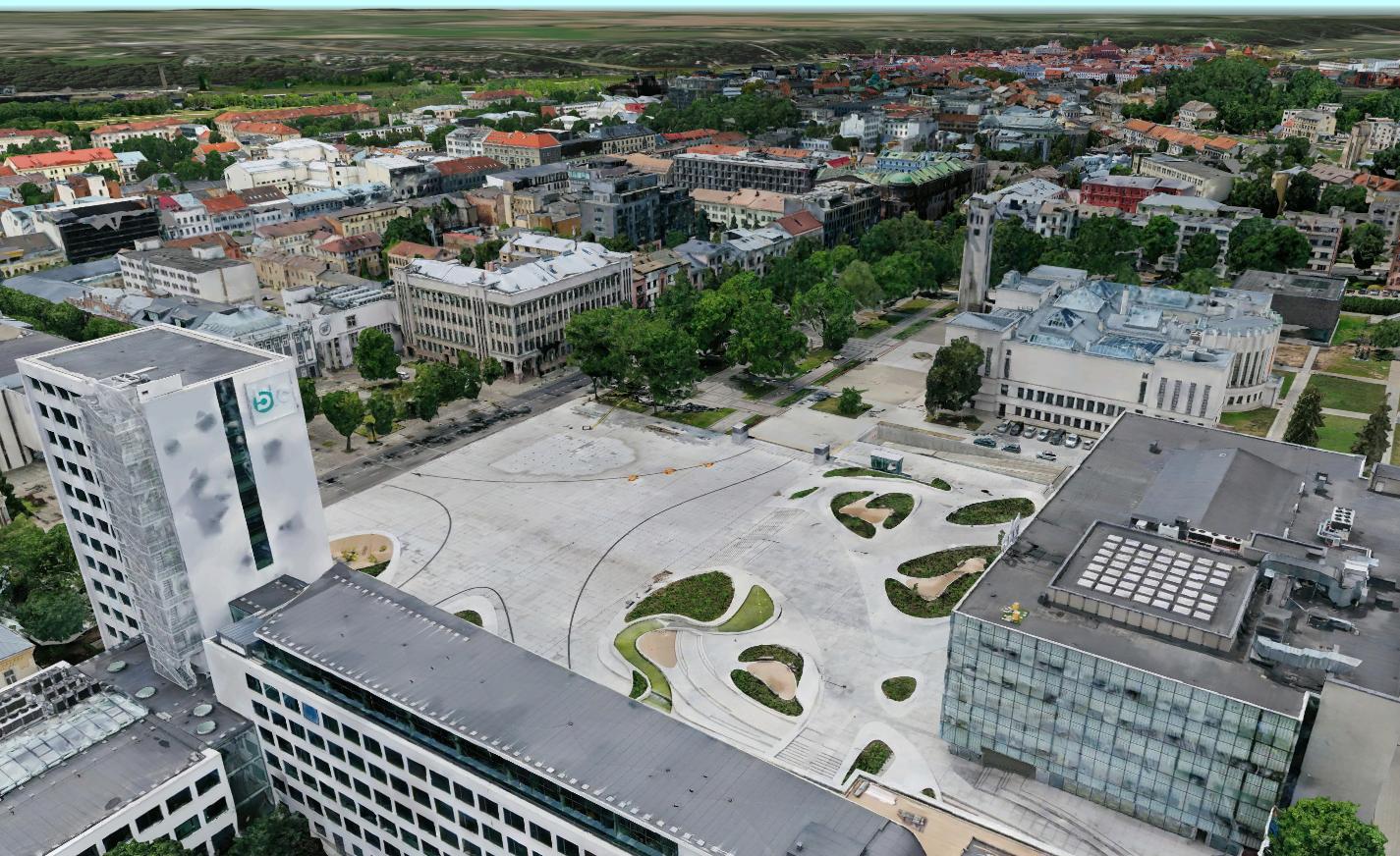 Kauno miesto virtualios kopijos fragmentas – erdvinis modelis.