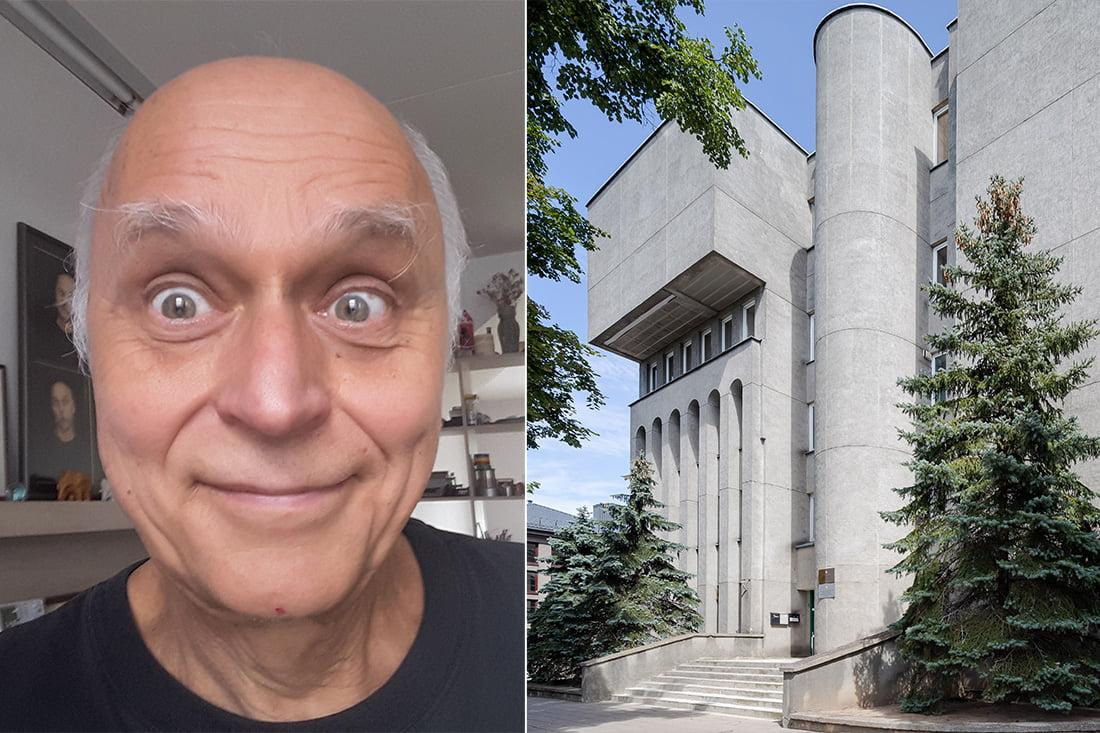 Arūnas Blūsius ir jo projektuotas pastatas Panevėžyje (Norbert Tukaj nuotr.)