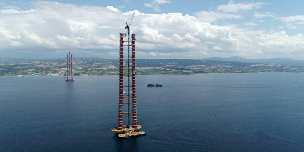 Turkijoje, Čanakalės provincijoje statomas ilgiausias pasaulyje tarpatramis tiltas. (Marr Contracting nuotr.)