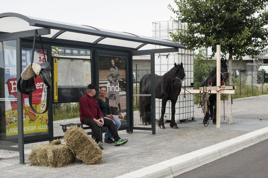 """UMSCHICHTEN biuro kuruoto projekto metu autobusų stotelės įgijo skirtingus charakterius. Čia – """"Next Stop Pony-Hof"""". Benny Golm nuotr."""