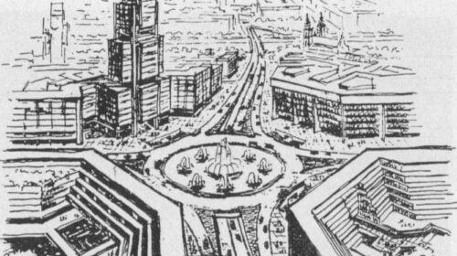 Konstitucijos pr. ir Kalvarijų g. žiedo vizija (Vilnius 1977).