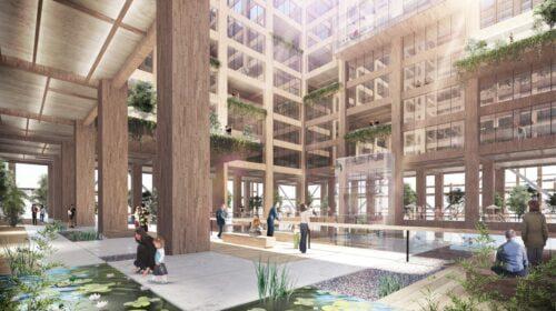 """Japonijos medienos įmonės """"Sumitomo Forestry"""" planuojamas statyti aukščiausias pasaulyje medinis pastatas Tokijuje. 350 metrų dangoraižiui ketinama panaudoti 180 tūkst. m3 medienos, kuri sudarys 90 procentų hibridinės medžio ir plieno konstrukcijos."""
