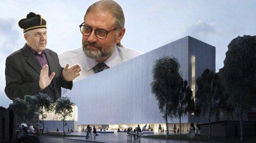 """S.Eidrigevičius ir R.M.Račkauskas (BNS nuotr., """"IMPLMNT architects"""" vizual., SA.lt fotomontažas)"""