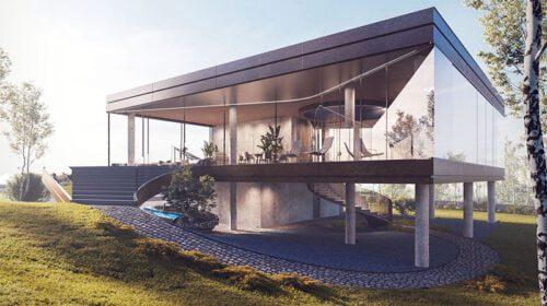 """EXPLORER. Pagrindinis šio namo akcentas yra cilindro formos pusiau atvira stiklinė laiptinė, užtikrinanti dienos šviesos patekimą į vidines erdves. Visos šio namo gyvenamosios erdvės yra išdėstytos pirmame aukšte. (""""Studija lape"""" vizual.)"""