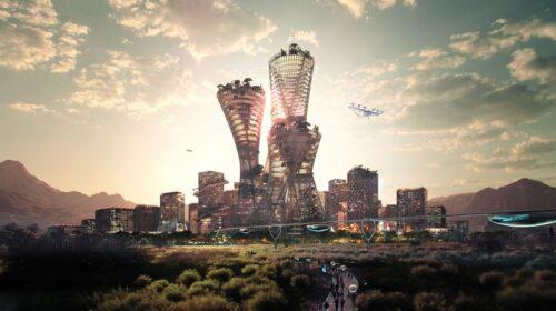 Pačiame Teloso centre įsikurtų ikoninis bokštas, aplink kurį būtų telkiama miesto infrastruktūra. (BIG and Bucharest Studio vizual.)
