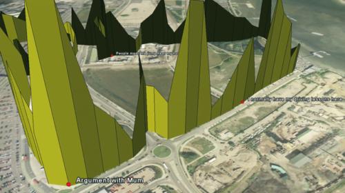 Tipinis Bio Mapping duomenų atvaizdavimas, pasitelkus Google Earth programą. Matomas dalyvio kelias bei jo emocijų pokyčiai. Dalyvė pati nurodė, kas iššaukė smarkesnę jos emocinę reakciją.