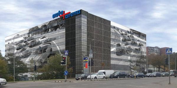 """Renovuojamo Vilniaus taksi parko pastato fasadą siūloma uždengti fototapetu. Bendrovės """"M14 invest"""" archyvo vizual."""