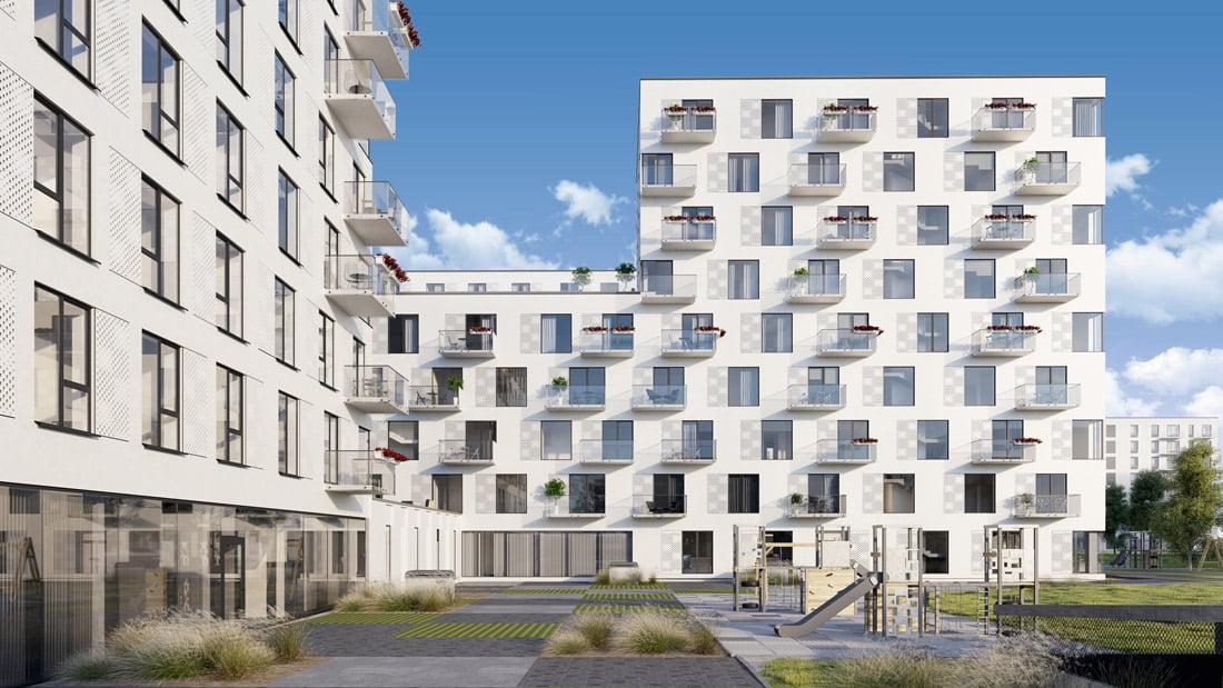 """Daugiabučių namų kompleksas """"Birželio namai"""". Projekto vizual."""