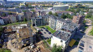 """Gyvenamųjų namų projekto """"Centro Duetas"""" statybos."""