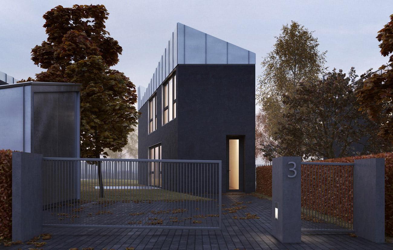 13 individualių gyvenamųjų namų kvartalas privačioje Danų gatvėje. Projekto autorius architektas G. Natkevičius.