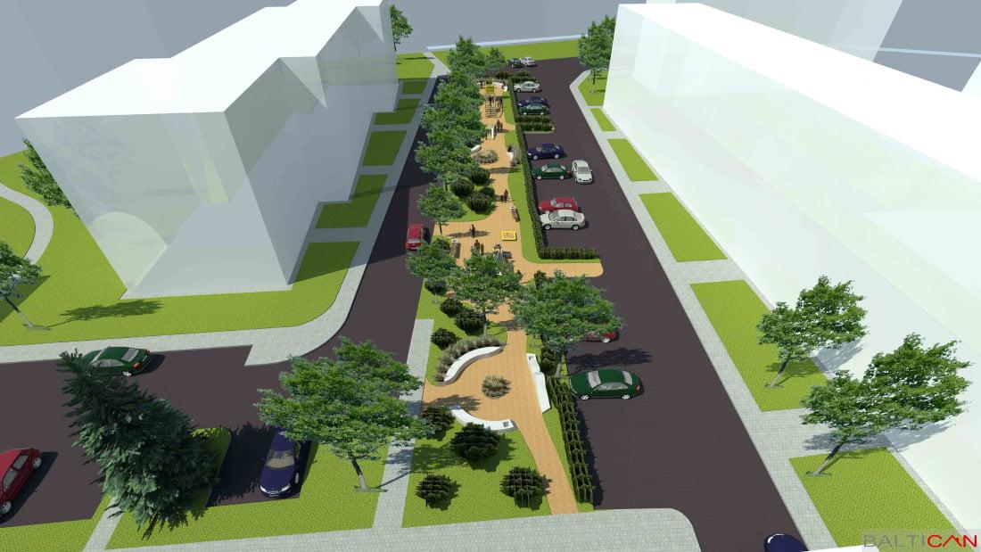 """Dauniškio kvartalo atnaujinimo projekte yra numatytos dviračių vietos, taip pat aikštelė su treniruoklių komplektais. Architektų biuro """"Baltican LTD"""" vizual."""