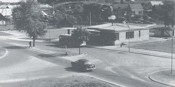 Trakų autobusų stotis. Apie 1960 m.