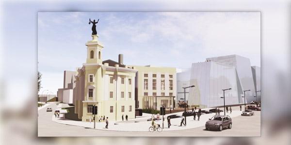 """Prie Energetikos muziejaus iškilsiančio viešbučio """"Hilton"""" vizual. Projekto autorius A. Kaušpėdas"""