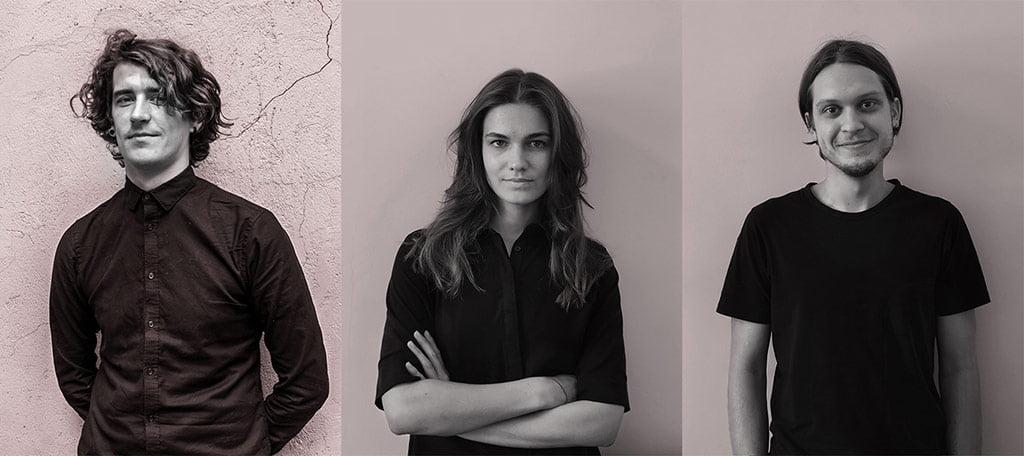 """""""IMPLMNT architects"""" architektai: Aurimas Syrusas, Greta Šidlauskaitė ir Ričardas Bertašius."""