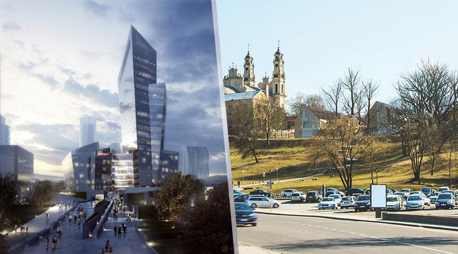 """Projektas """"k18B"""", """"Studio Libeskind"""" vizual. (kairėje) ir """"Misionierių sodai"""", """"Do Architects"""" vizual."""