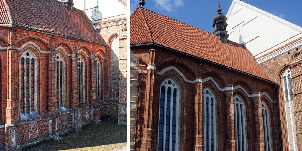 Presbiterijos fasadai prieš ir po restauracijos. Astos Prikockienės nuotr.